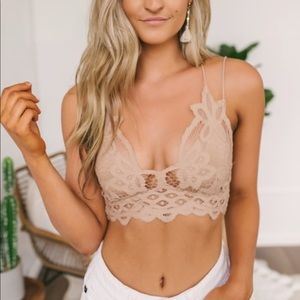 NWT Free People Adella Nude Lace Bralette